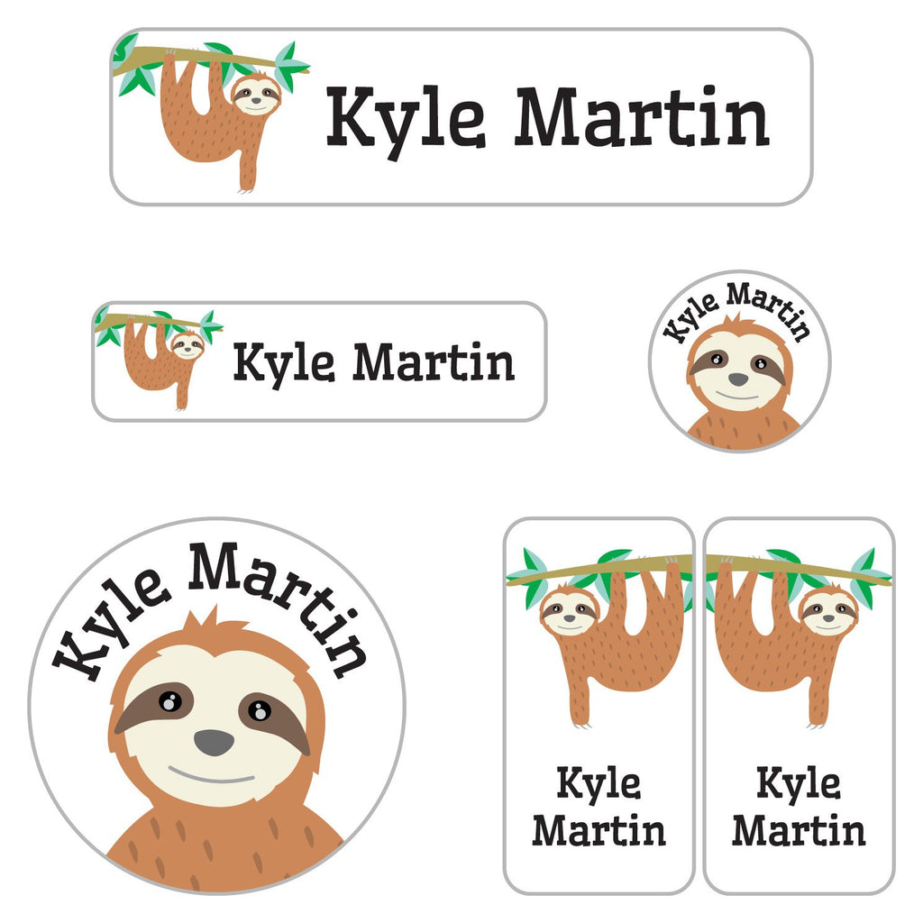 name labels with a variety of shapes with sloth design