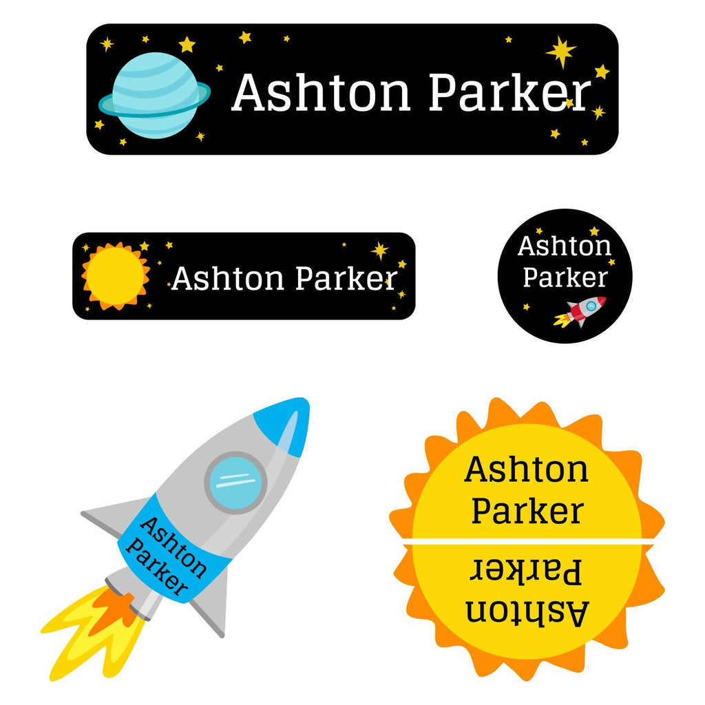 space labels for school