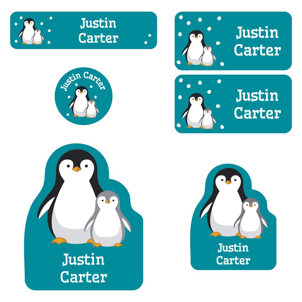 preschool labels pack with a pair of penguins
