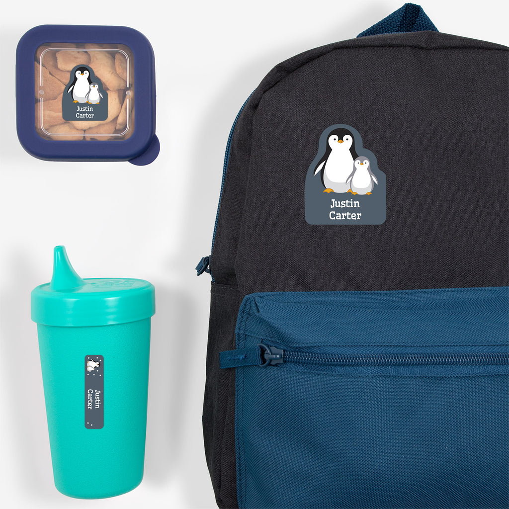 preschool labels pack with a pair of penguins - _Penguins_Blue Gray