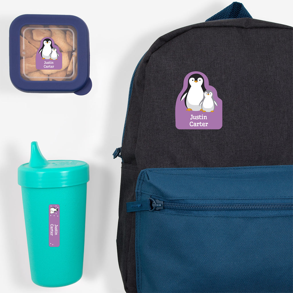 preschool labels pack with a pair of penguins - _Penguins_Lavender