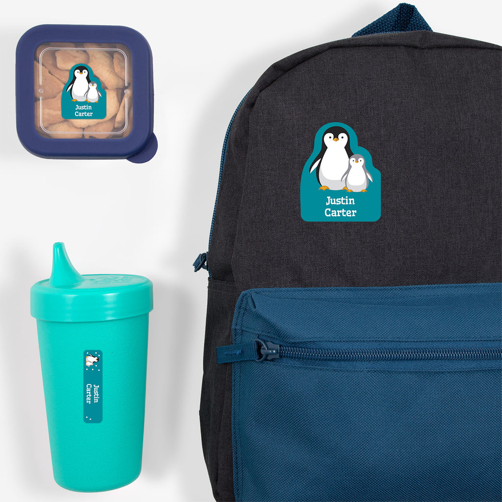 preschool labels pack with a pair of penguins - _Penguins_Teal
