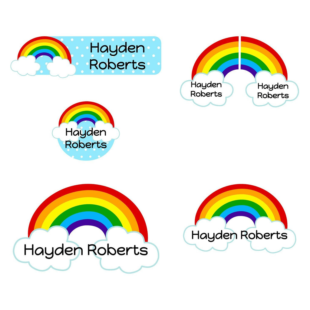 rainbow preschool name labels