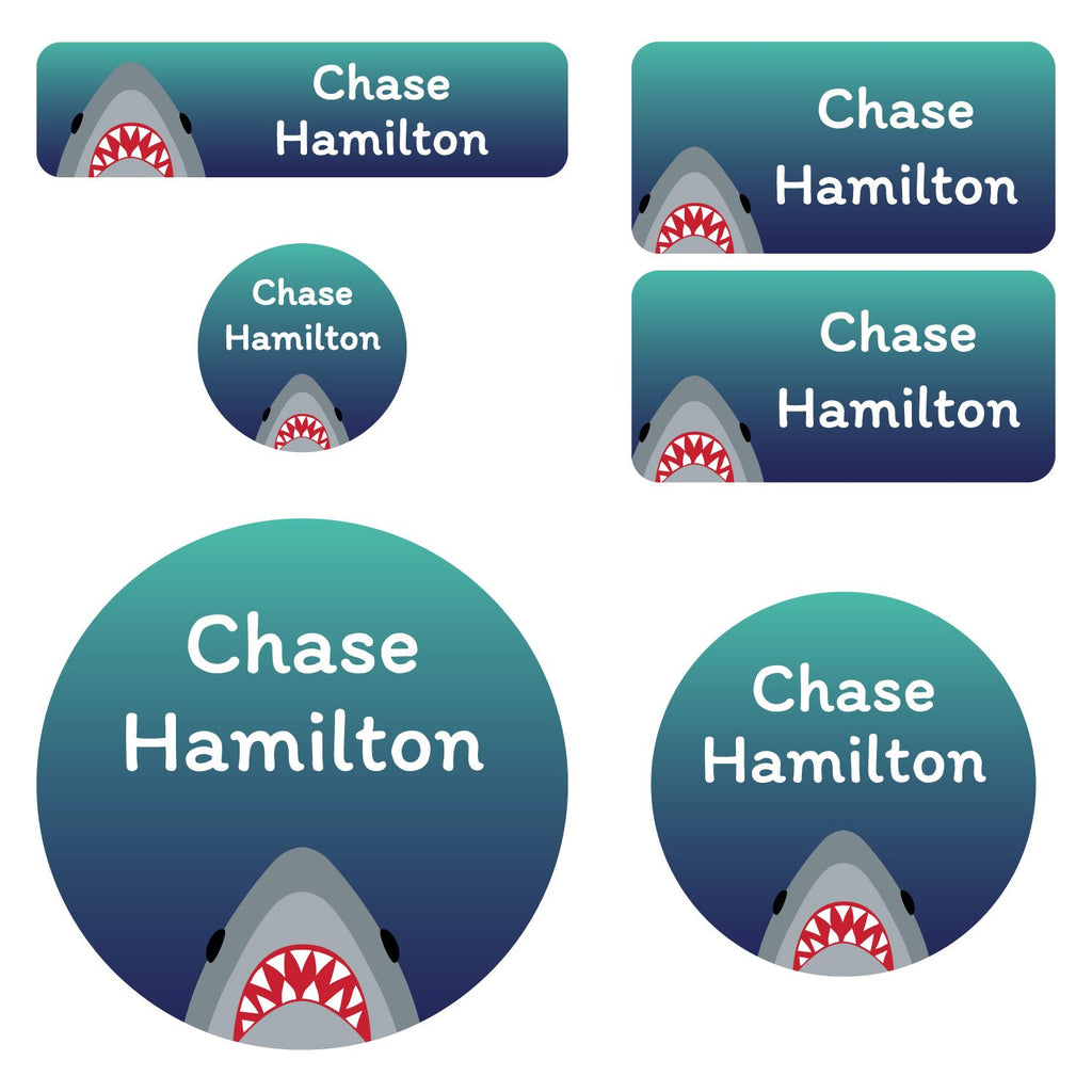 kids labels for school with shark on dark blue background design