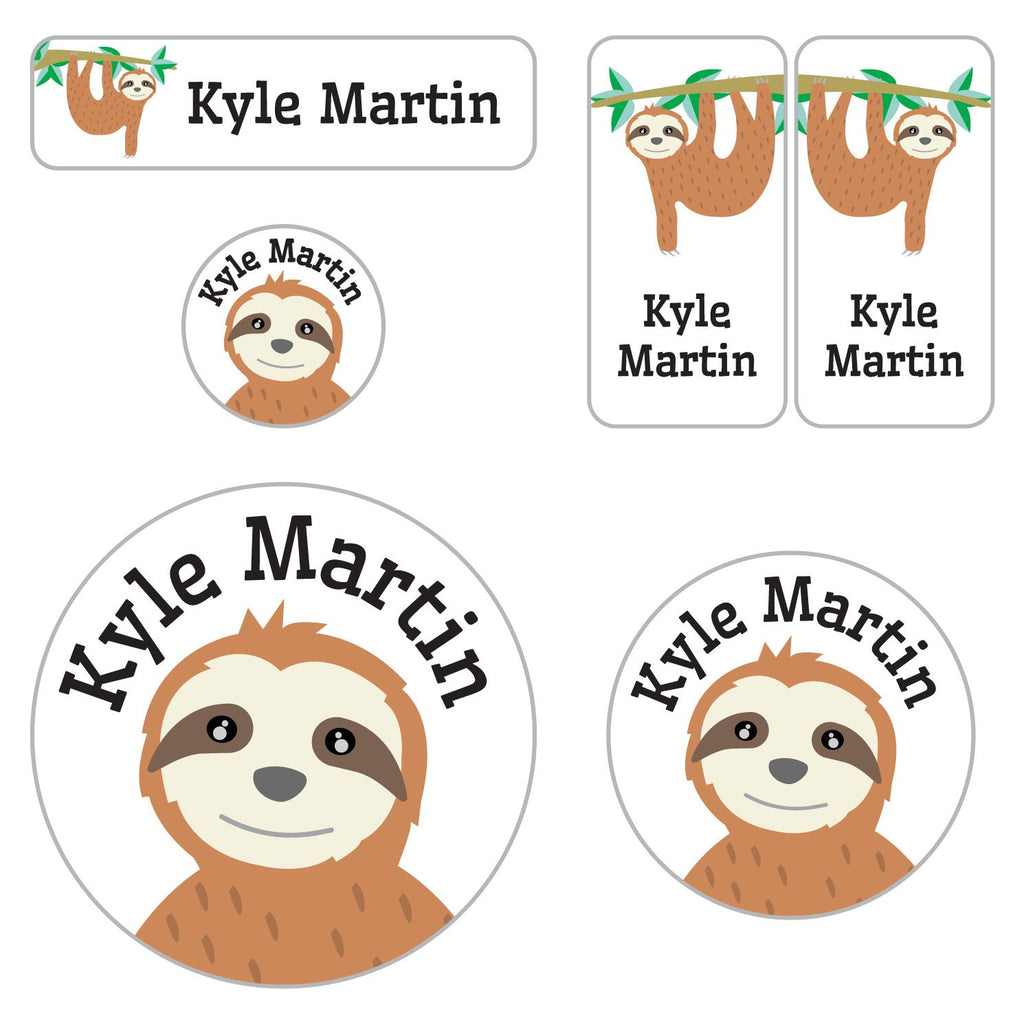 kids name labels for preschool with sloth hanging from tree branch design