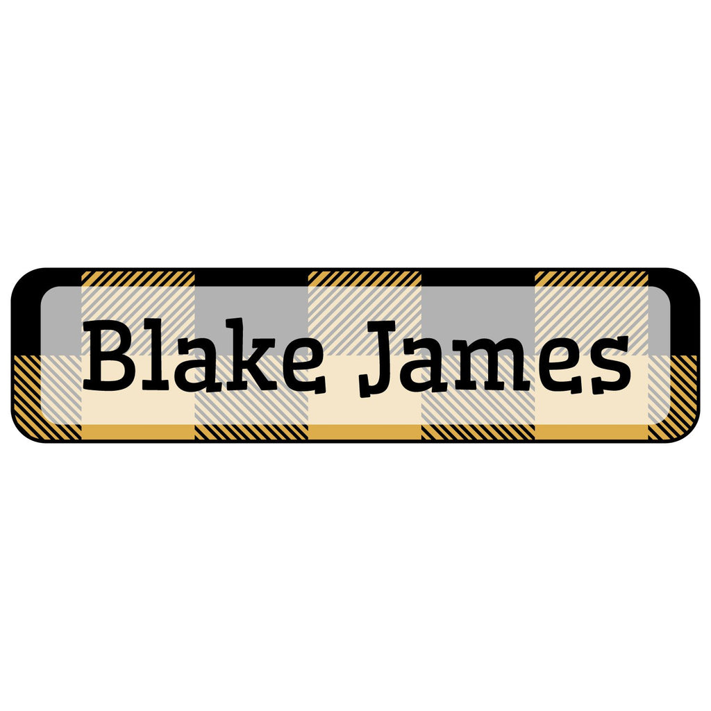 kids name stickers with plaid design