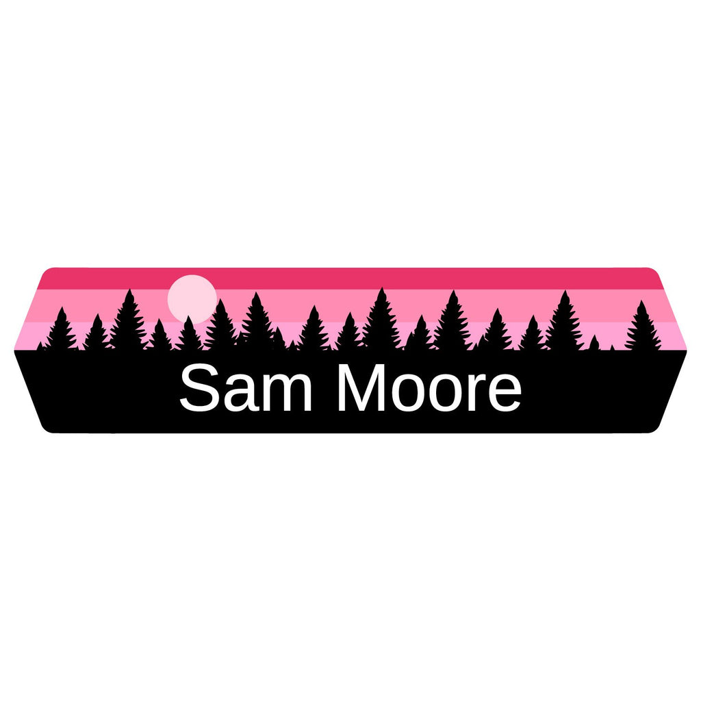 kids name stickers with forest silhouette and sky design