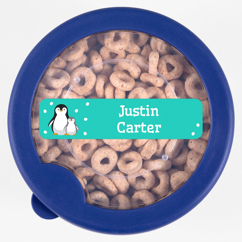 dishwasher safe name labels with a pair of penguins - _Penguins_Aqua / Rectangle