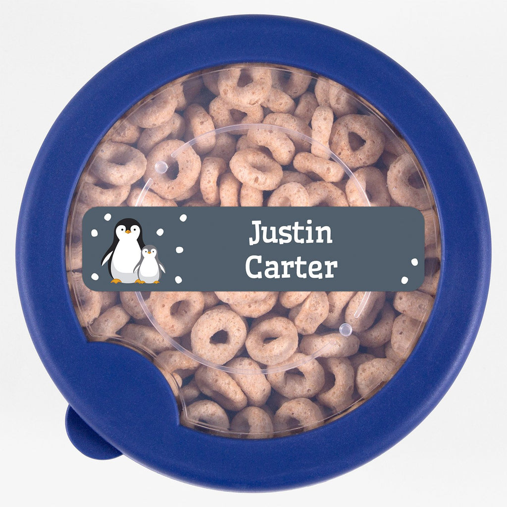 dishwasher safe name labels with a pair of penguins - _Penguins_Blue Gray / Rectangle