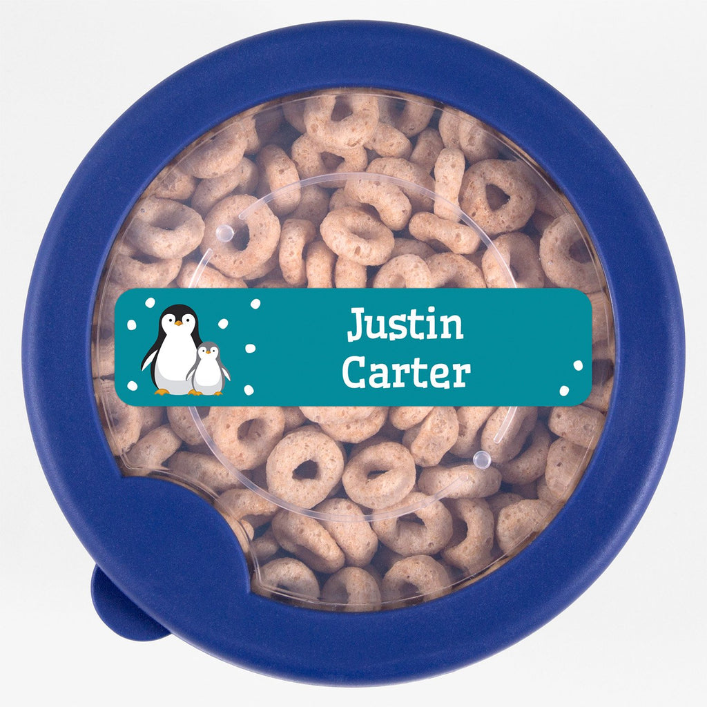 dishwasher safe name labels with a pair of penguins - _Penguins_Teal / Rectangle