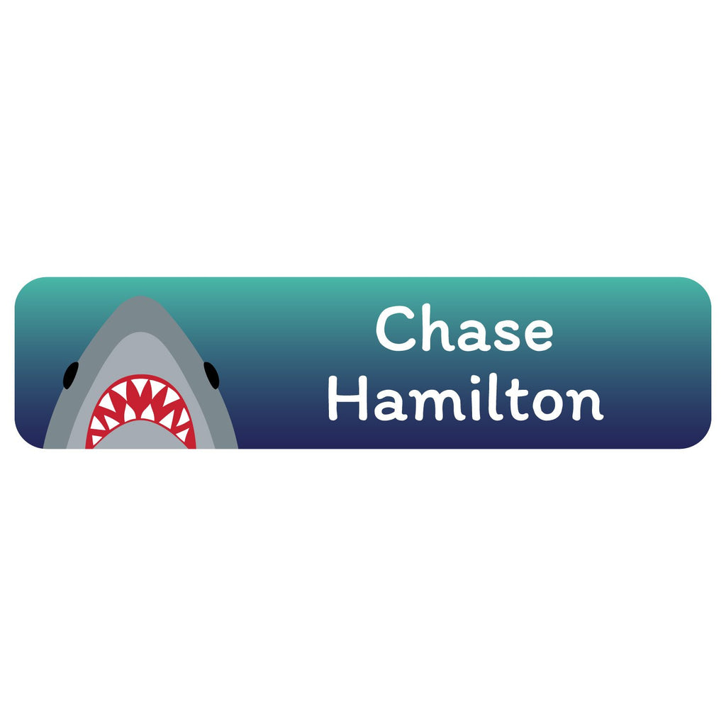 custom name tags with shark on dark blue background design