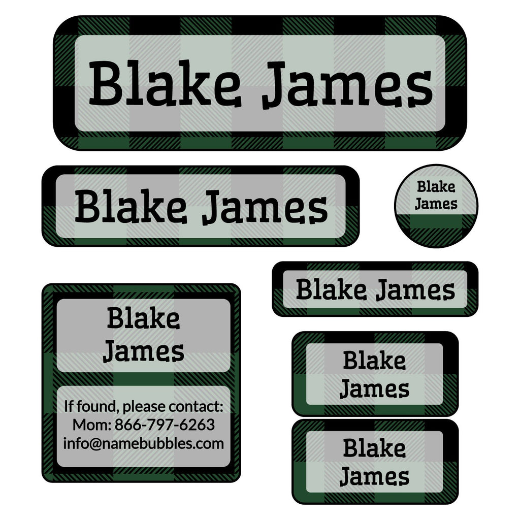 school labels of various shapes and sizes with plaid design