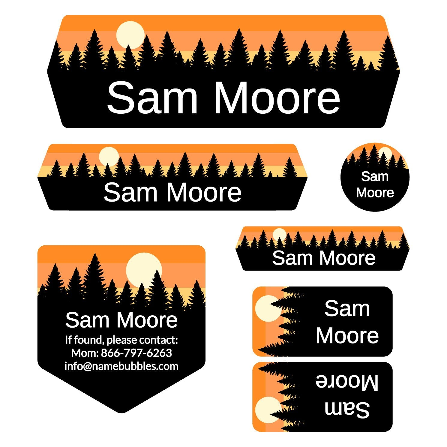 school labels of various shapes and sizes with forest silhouette and sky design