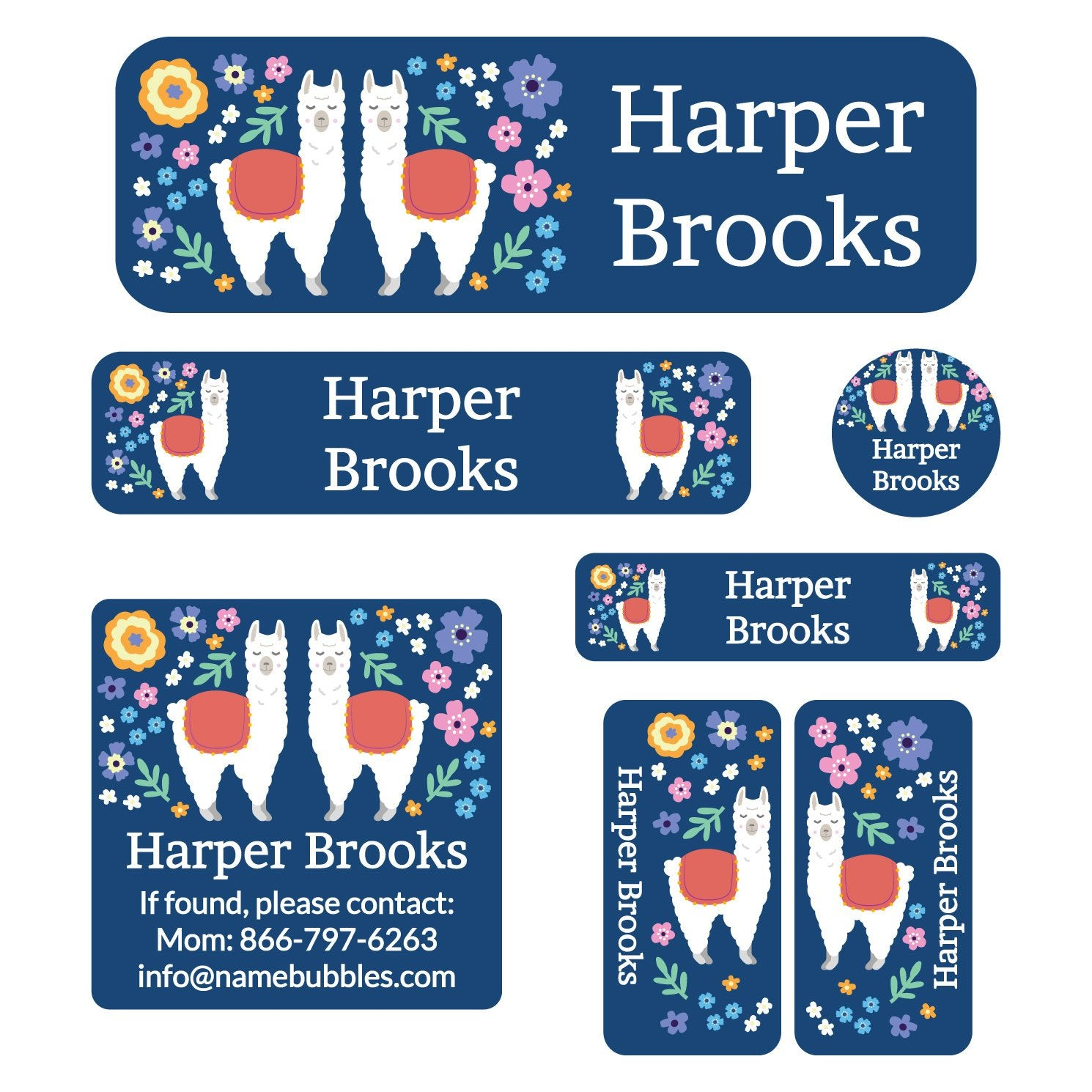 school labels pack with various shapes and sizes with llamas and flowers on blue background