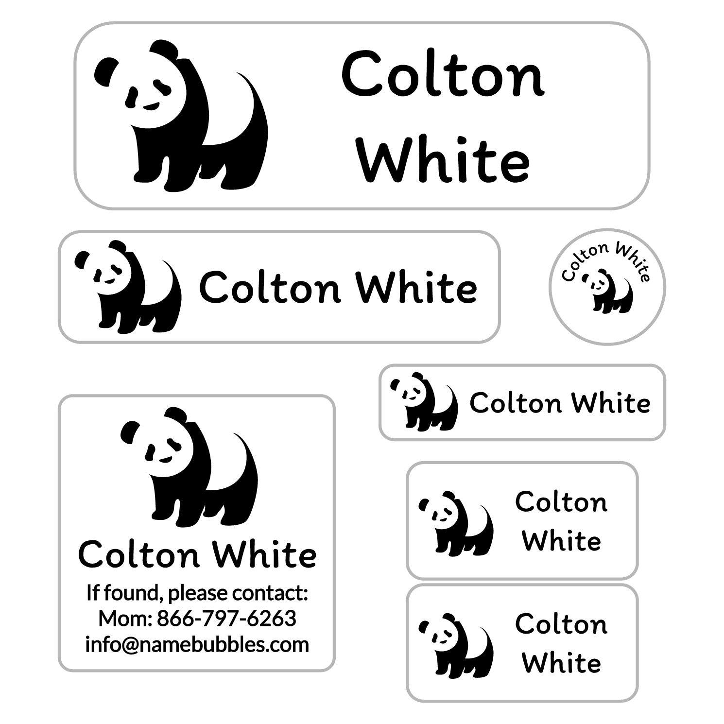 school labels of various shapes and sizes with panda icon
