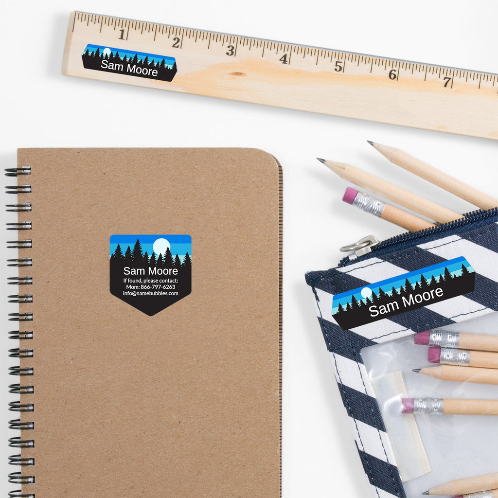 school supply labels of various shapes and sizes with forest silhouette and sky design - _Forest Sky_Blue