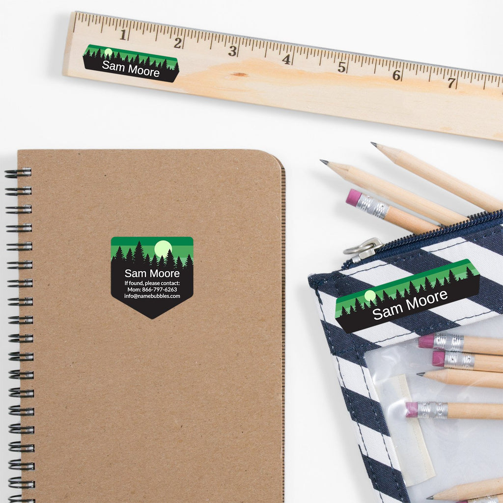 school supply labels of various shapes and sizes with forest silhouette and sky design - _Forest Sky_Green