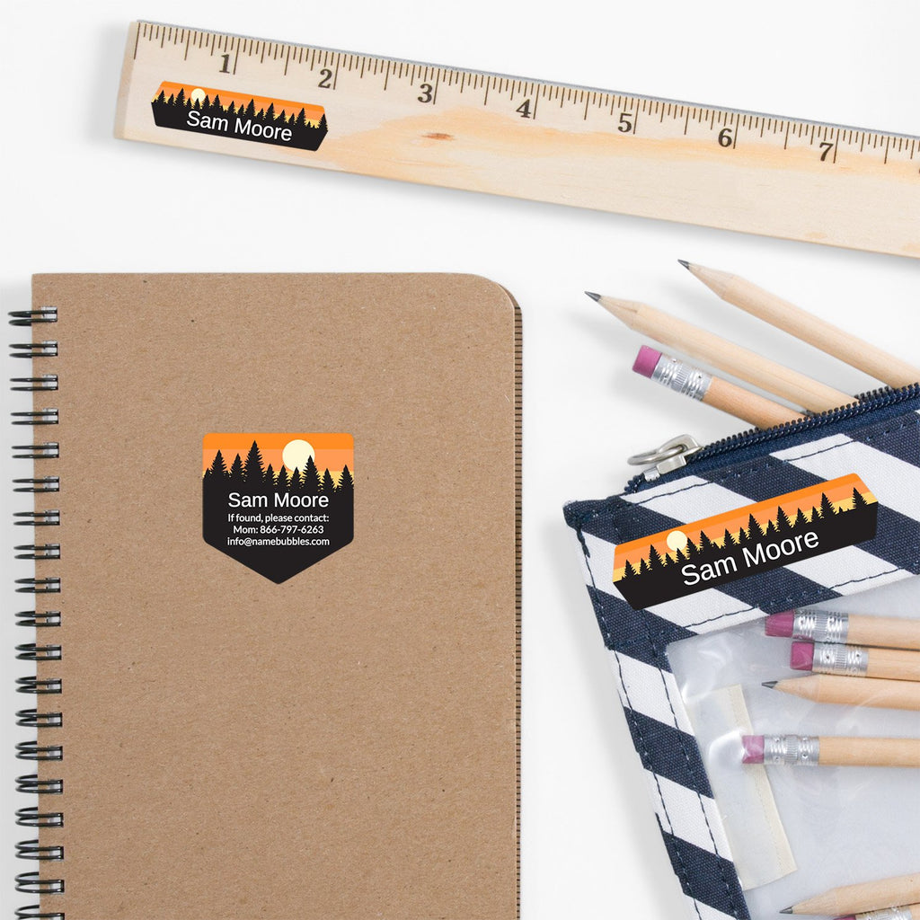 school supply labels of various shapes and sizes with forest silhouette and sky design - _Forest Sky_Orange