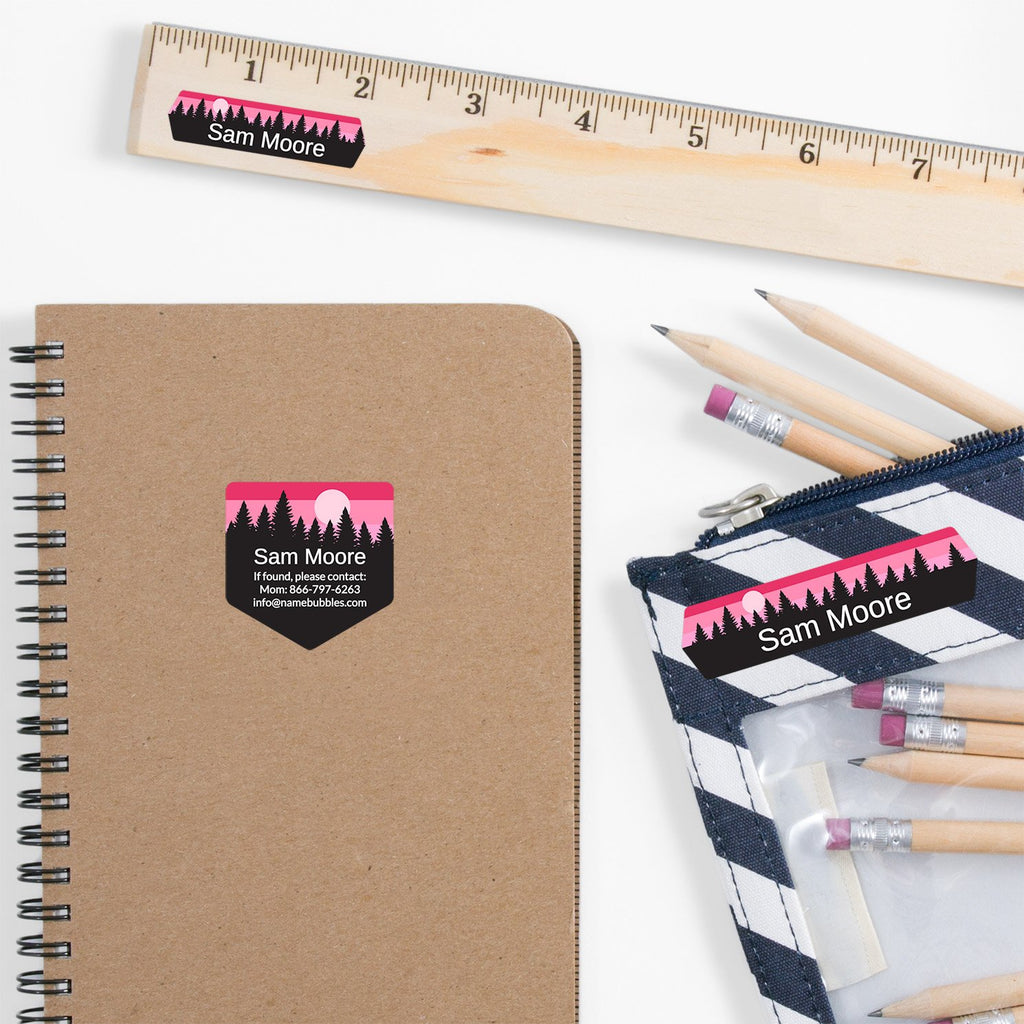 school supply labels of various shapes and sizes with forest silhouette and sky design - _Forest Sky_Pink