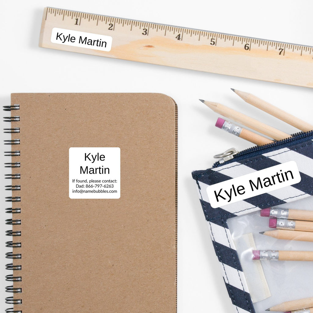 school supply name labels - Black