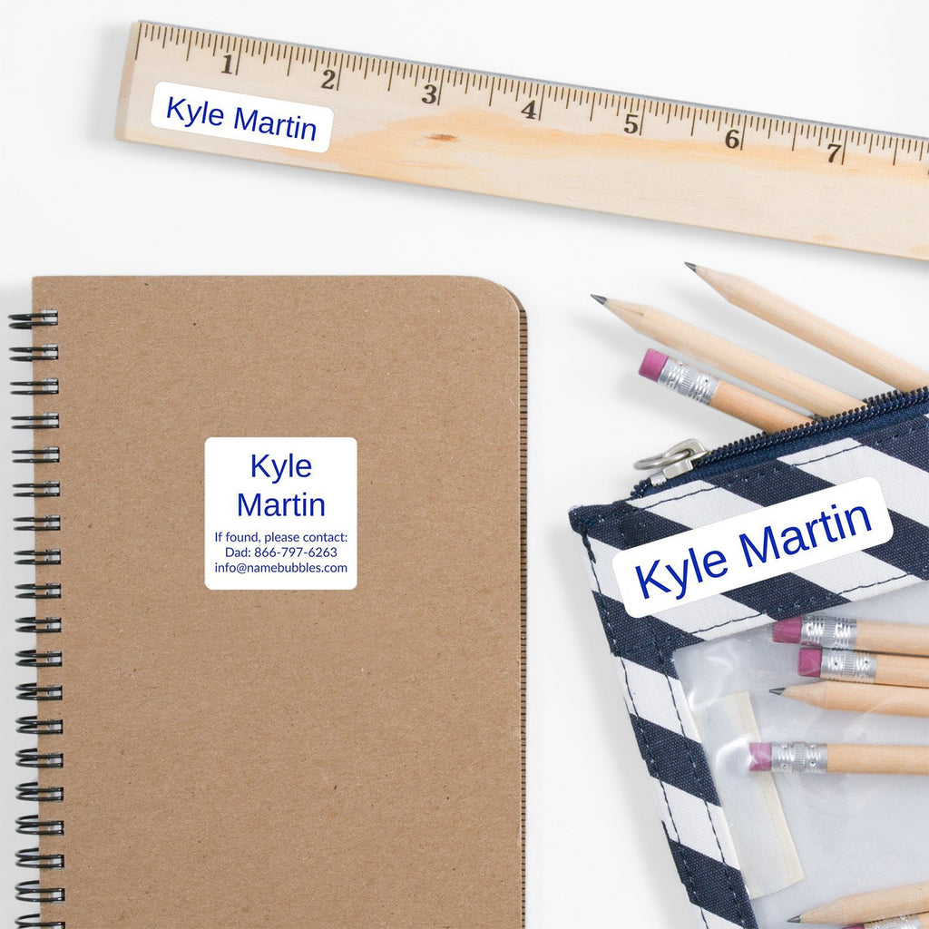 school supply name labels - Sapphire