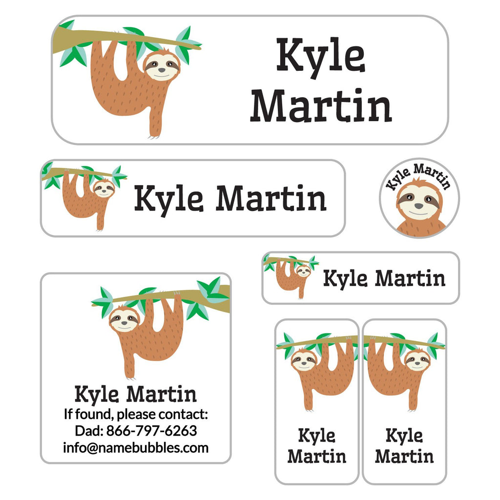 school supply labels with a variety of shapes with sloth design