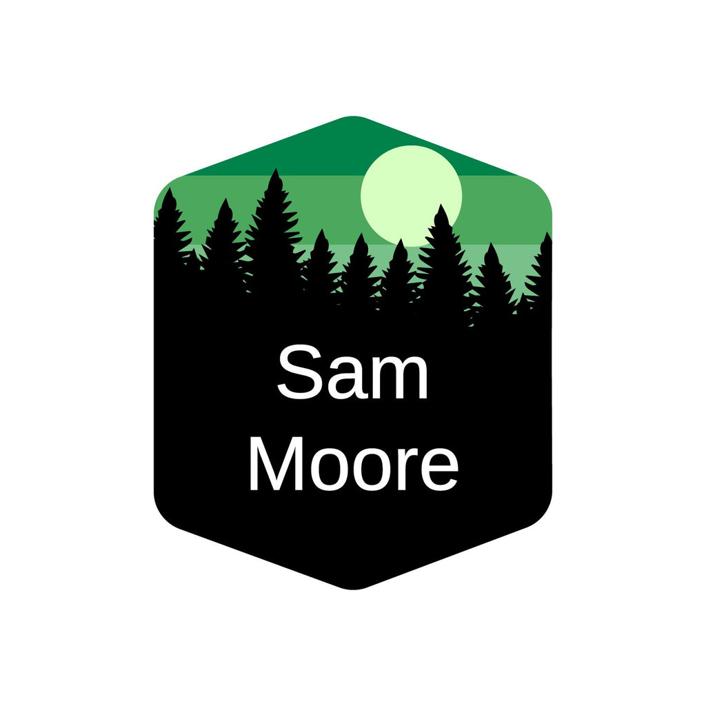 lunchbox labels with forest silhouette and sky design