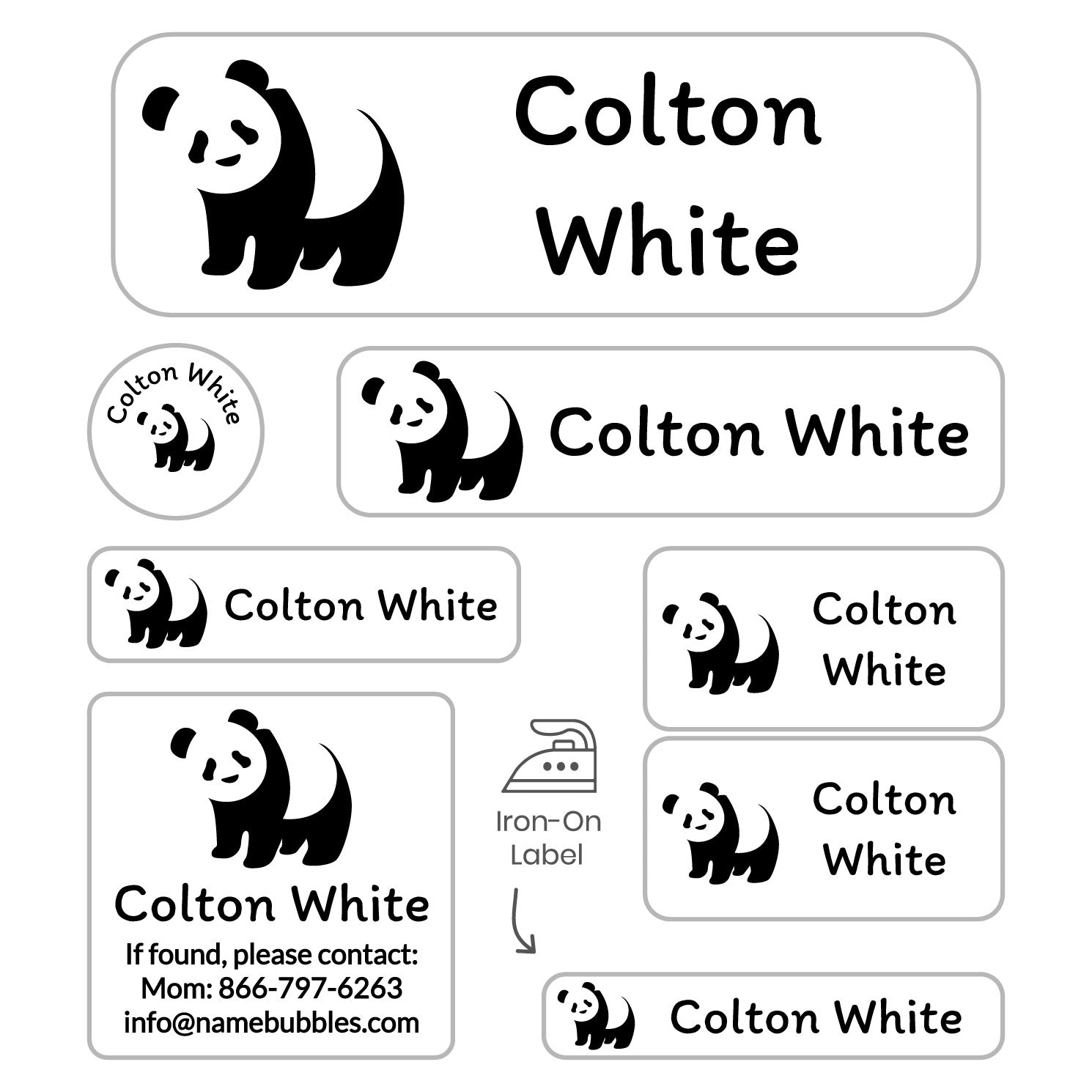 kids personalized labels with panda on white background design
