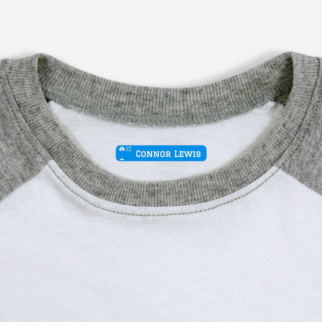 iron on name tags for children's clothes - Hawaiian Ocean / Slim Rectangle