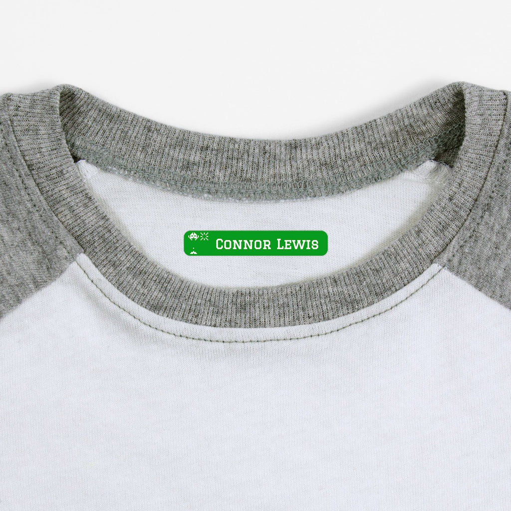 iron on name tags for children's clothes - Shamrock / Slim Rectangle