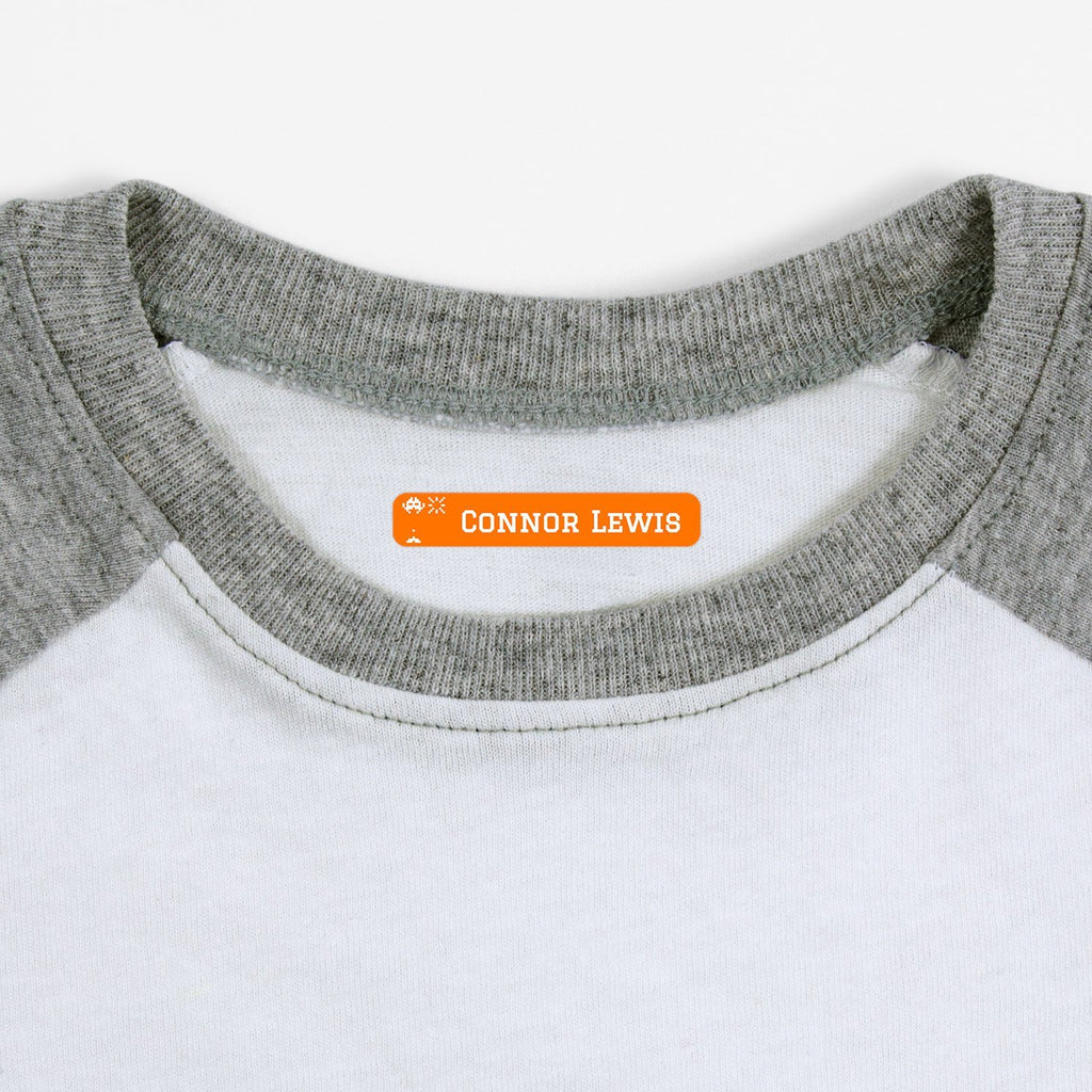 iron on name tags for children's clothes - Tangerine / Slim Rectangle