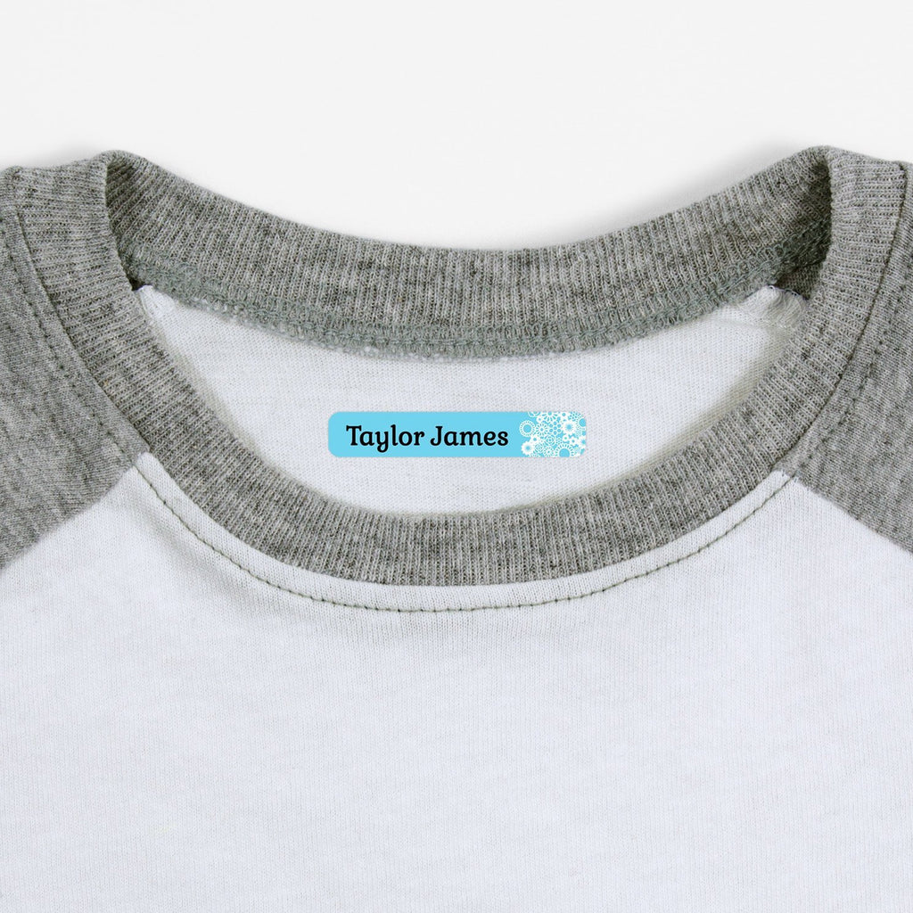 custom iron on labels - Baby Blue / Slim Rectangle