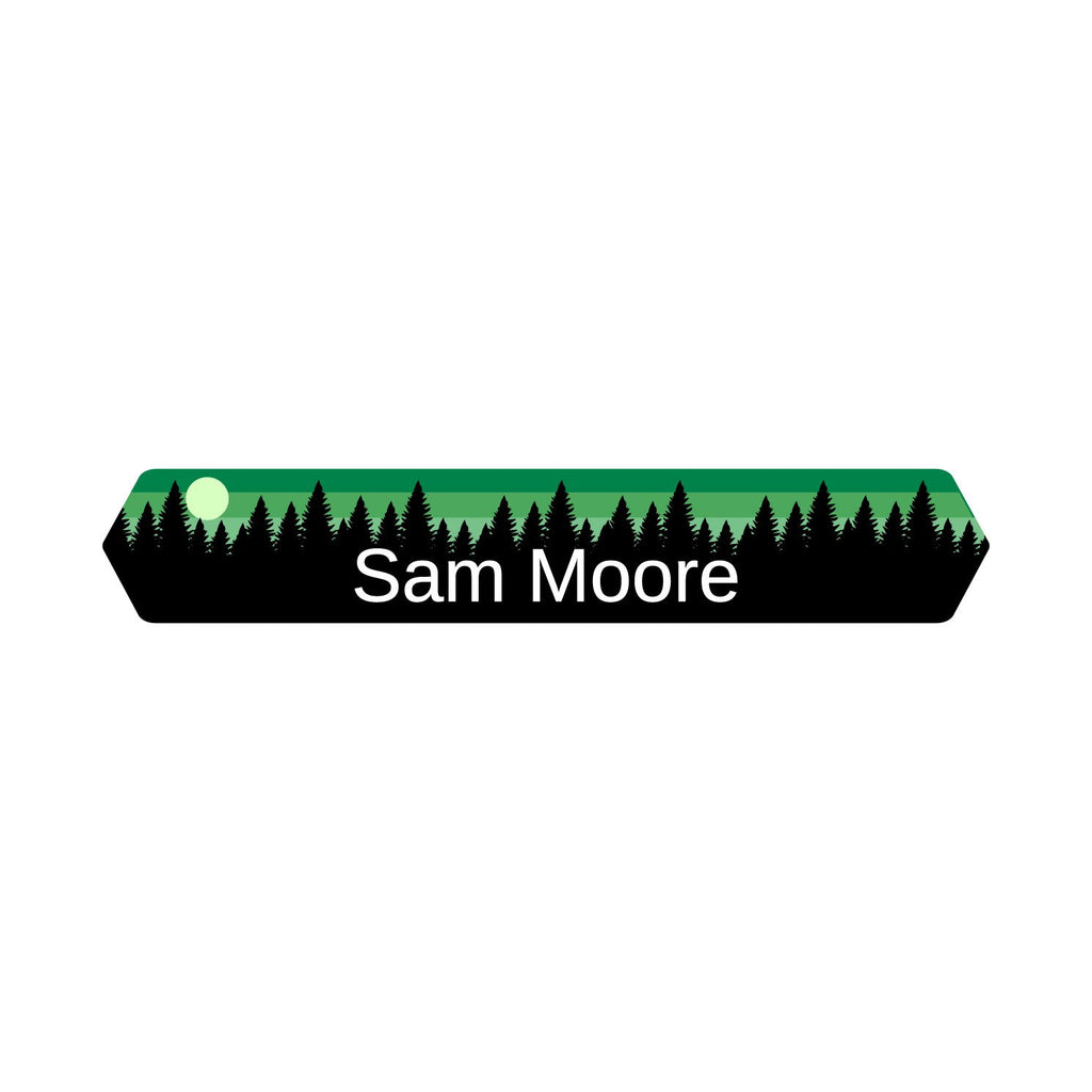 kids iron-on labels with forest silhouette and sky design