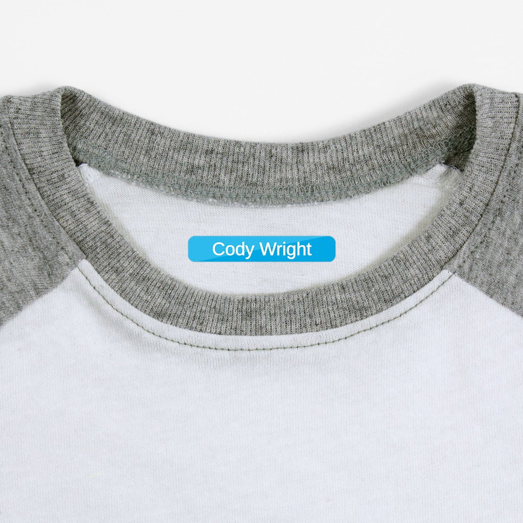 personalized kids iron-on labels - _Split_Blue / Slim Rectangle