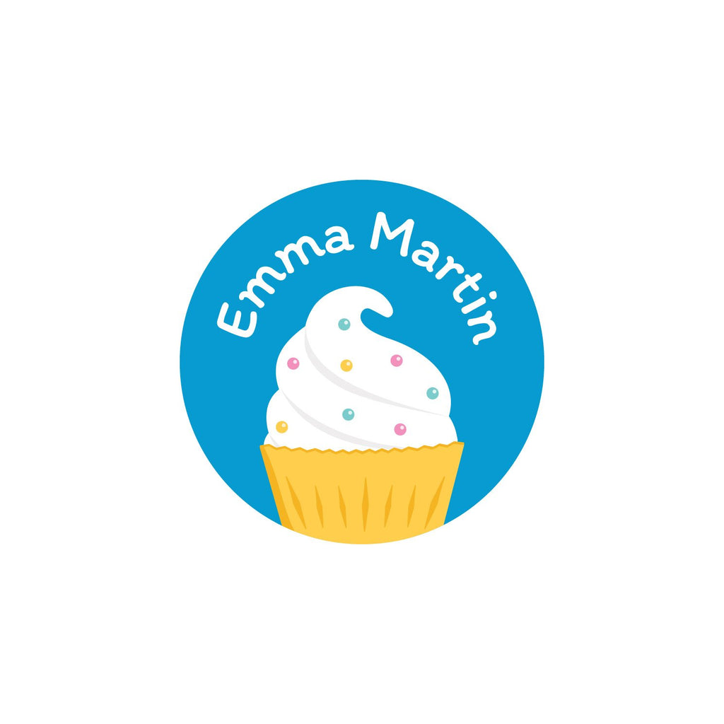 round laundry safe labels with a cupcake on blue background design