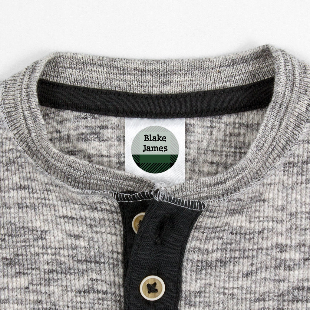 small clothing labels with plaid design - _Flannel_Green / Circle