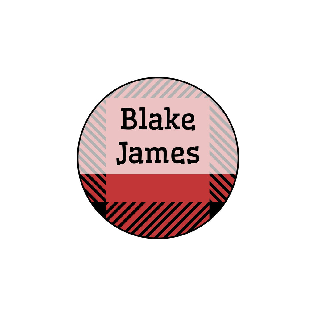 circle iron-on name labels with plaid design