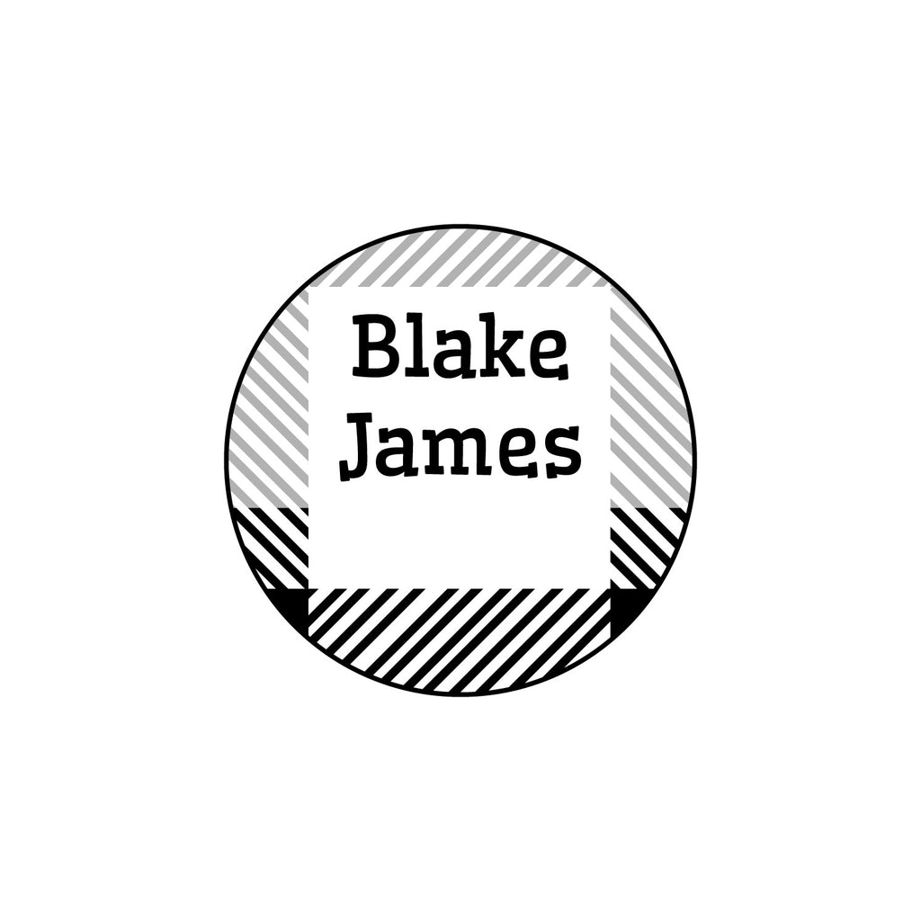 small clothing labels with plaid design