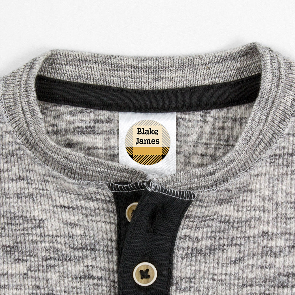 small clothing labels with plaid design - _Flannel_Yellow / Circle