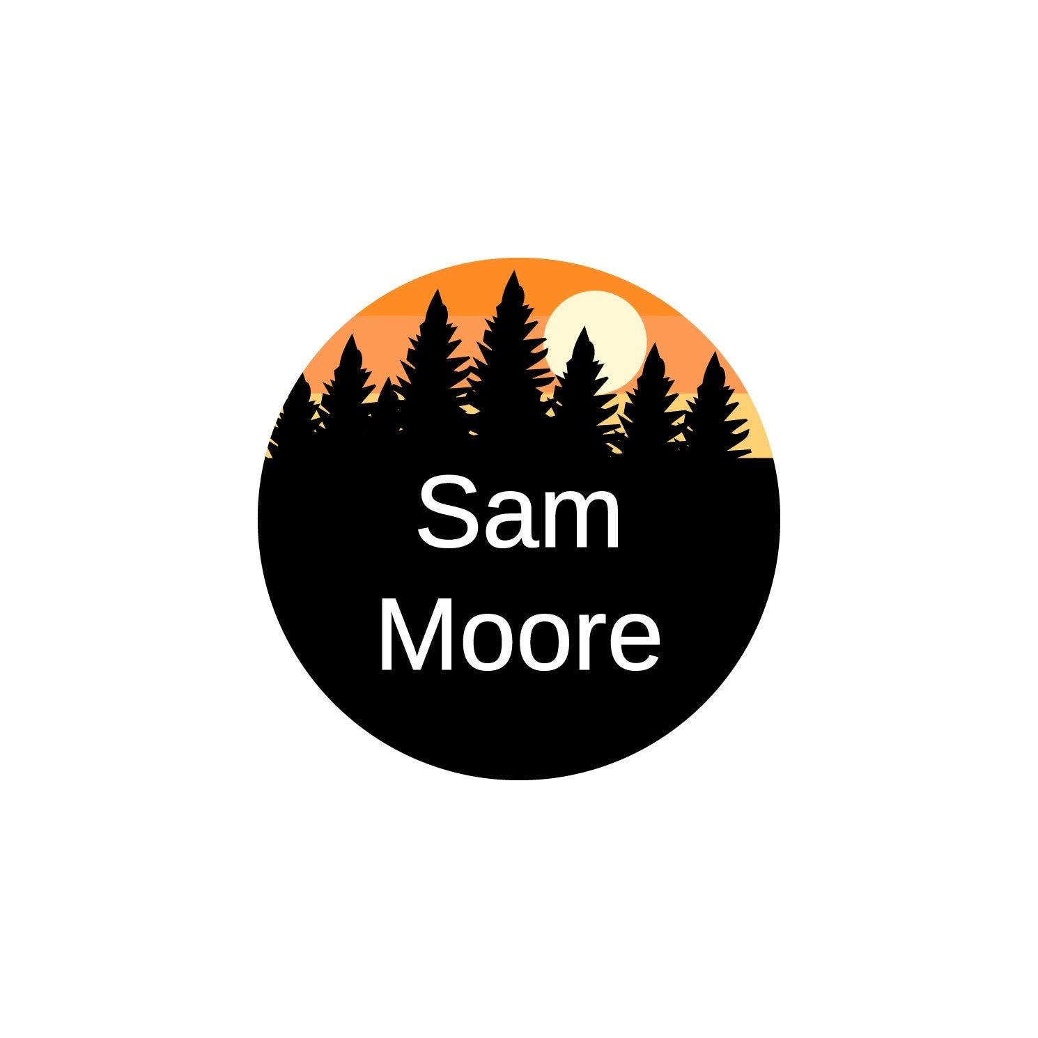 small clothing labels with forest silhouette and sky design