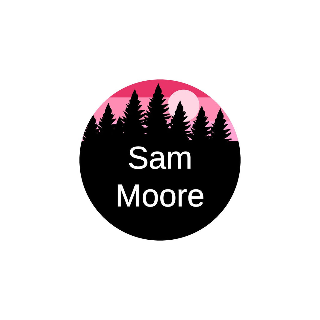 circle iron-on name labels with forest silhouette and sky design