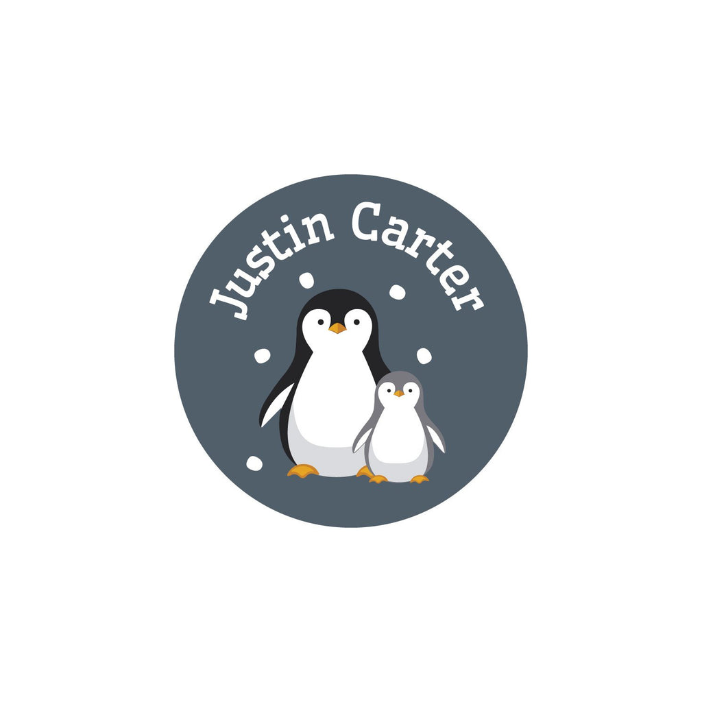 laundry safe clothing labels with a pair of penguins