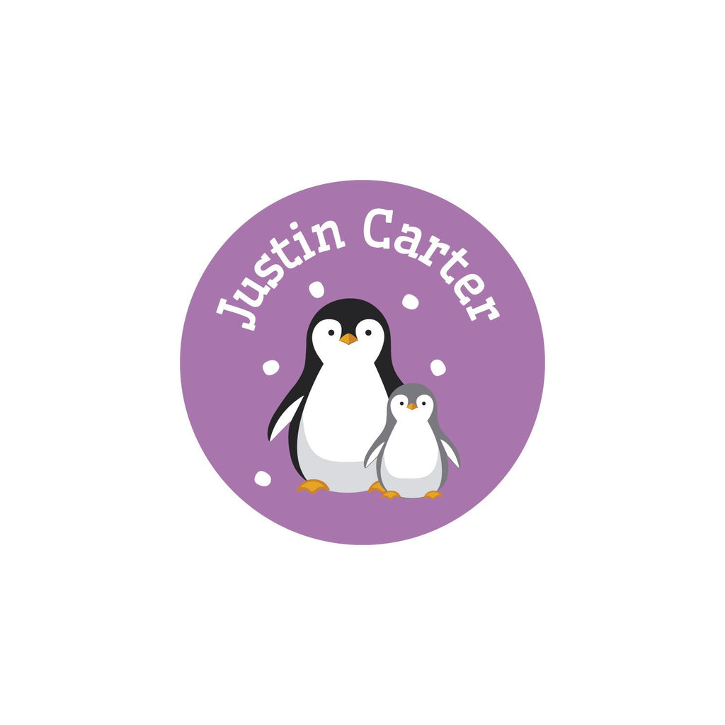 iron on safe clothing labels with a pair of penguins