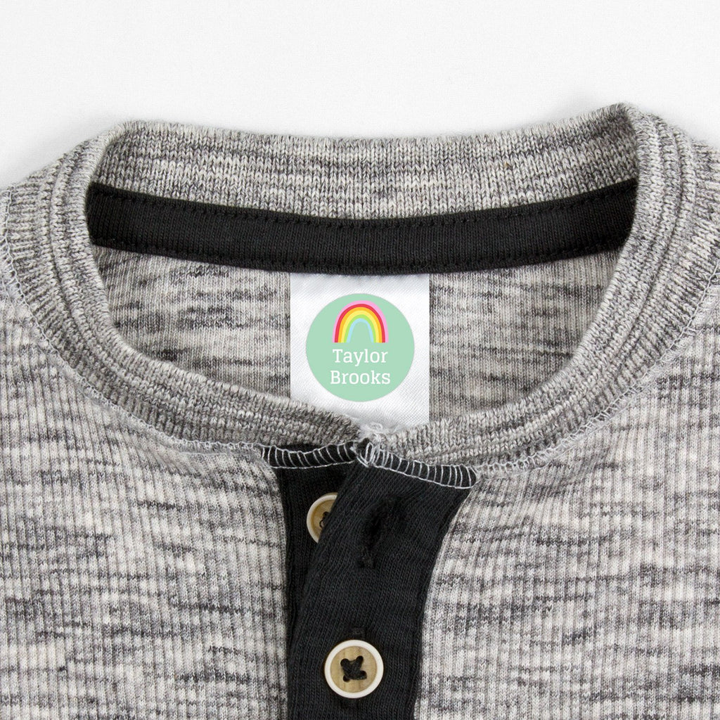 labels for kids clothes - _Rainbows_Turquoise / Circle
