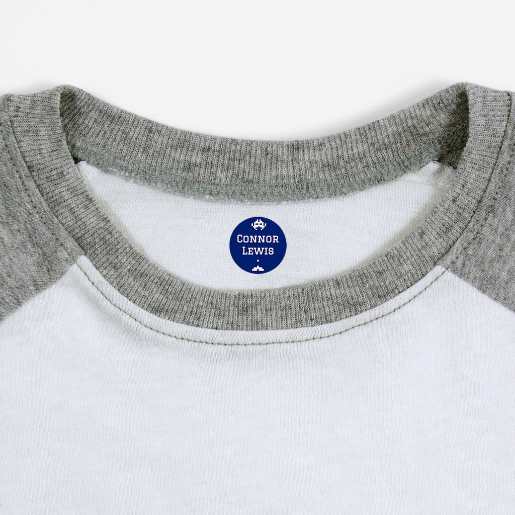 iron on name tags for children's clothes - Indigo / Circle