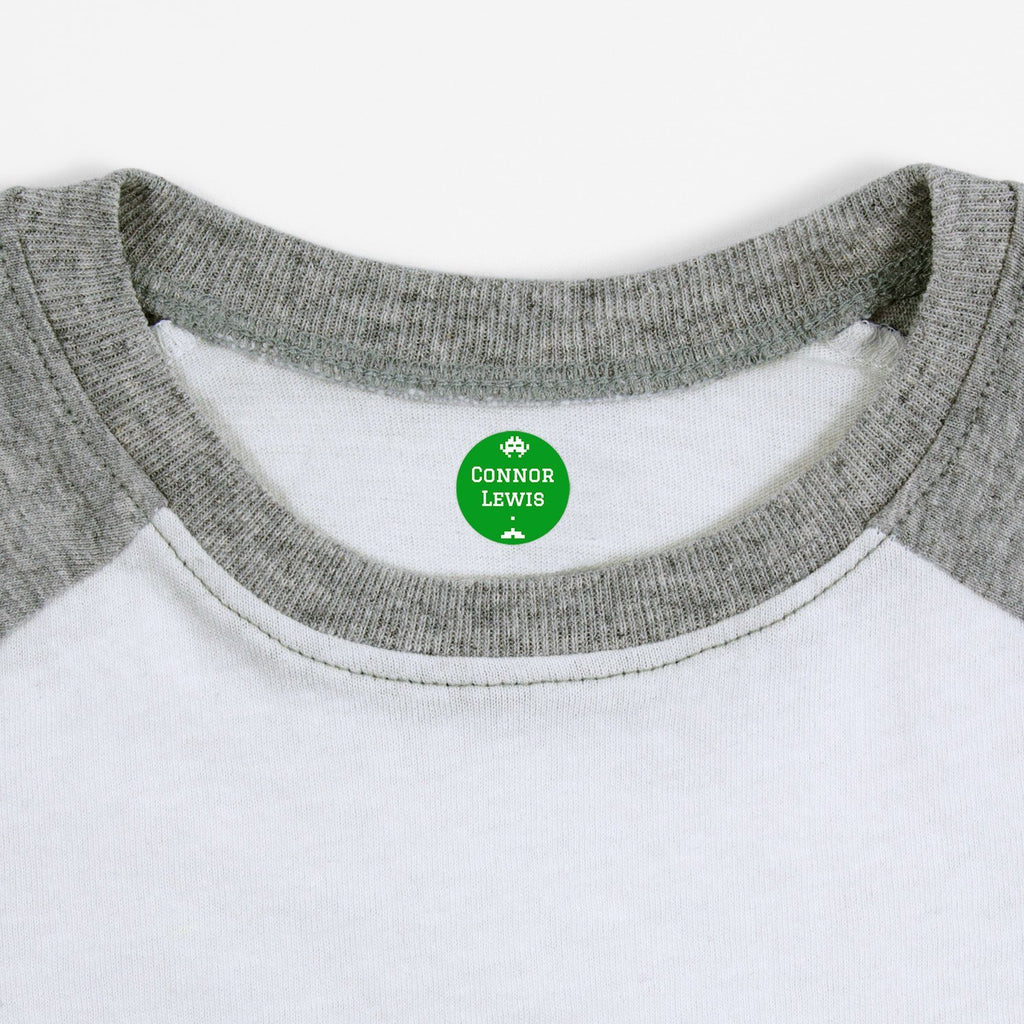 iron on name tags for children's clothes - Shamrock / Circle