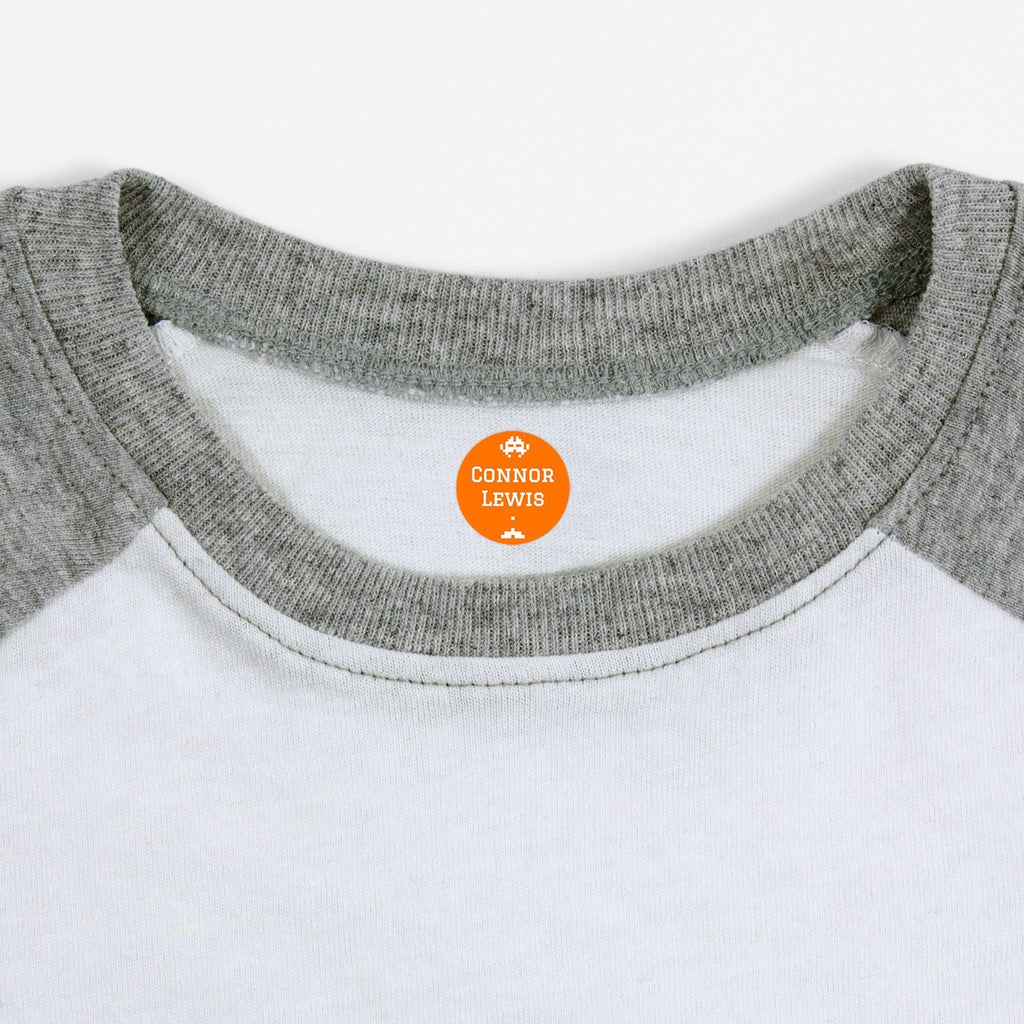 iron on name tags for children's clothes - Tangerine / Circle