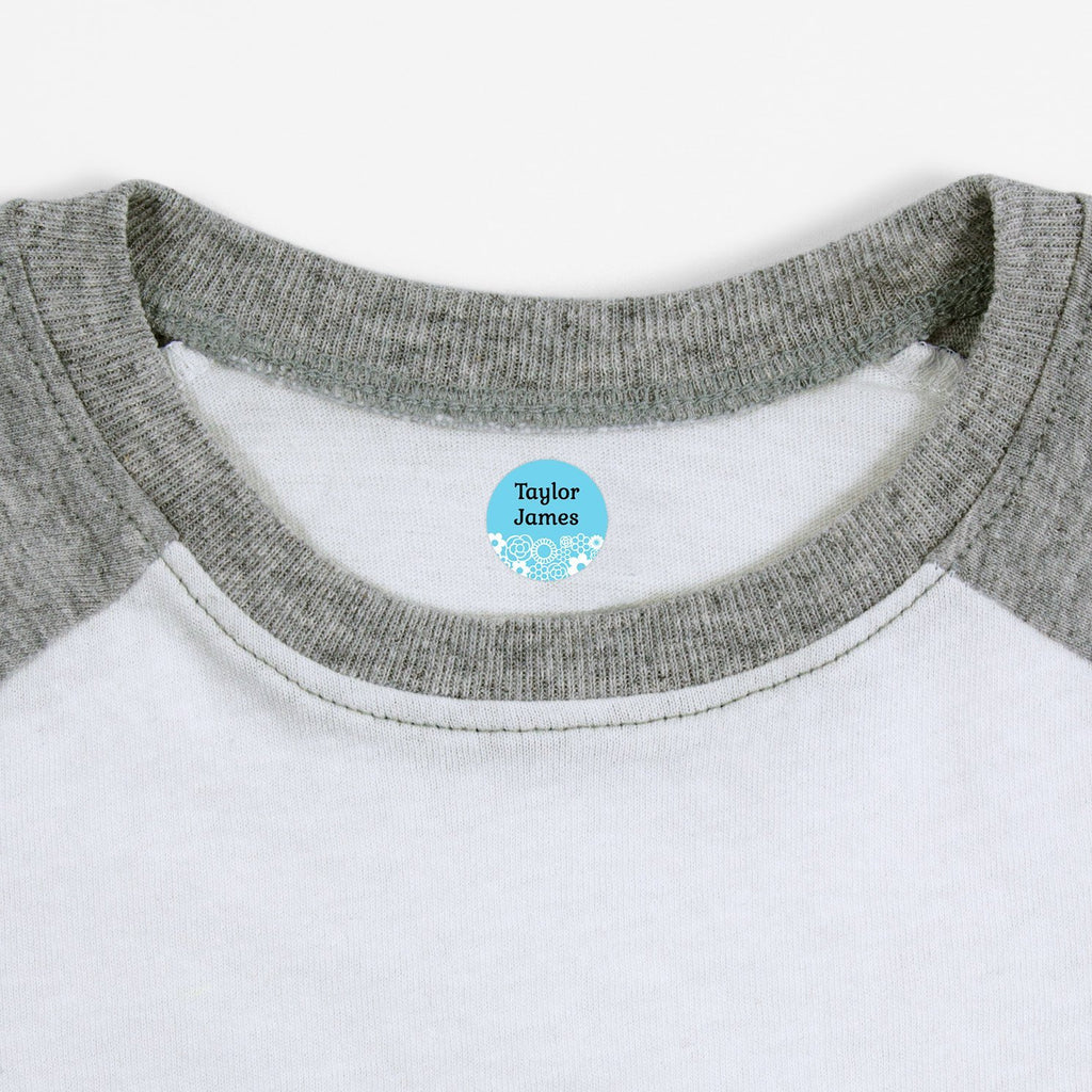 custom iron on labels - Baby Blue / Circle