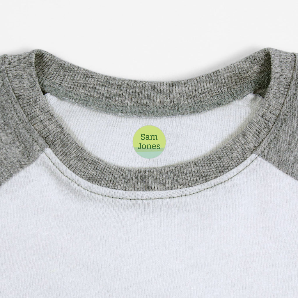 iron on name tags for children's clothes - _Ombre_Green / Circle
