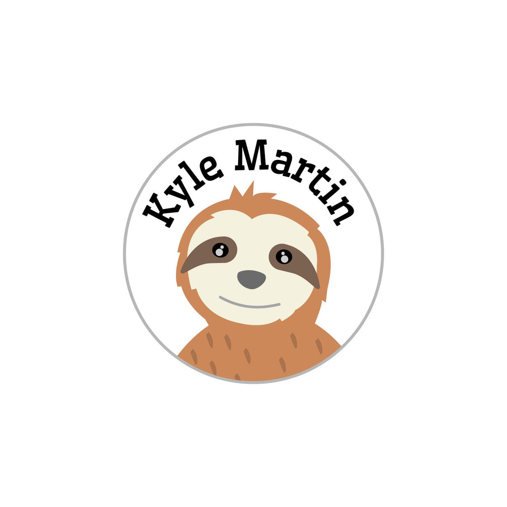 personalized kids labels with soth hanging off tree branch design - permanent laundry safe labels with sloth smiling face design